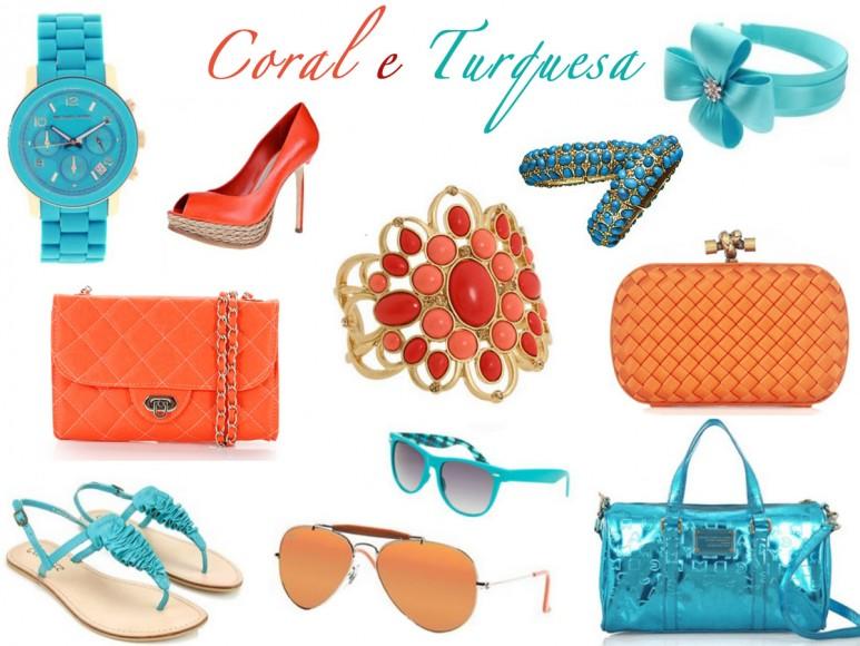 Coral e Turquesa