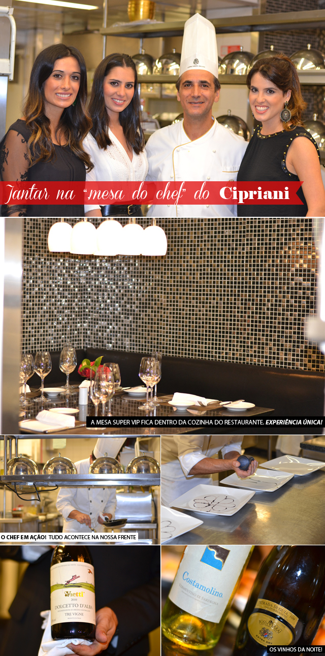 "Jantar ""na mesa do chef"" – Restaurante Cipriani – Copacabana Palace"