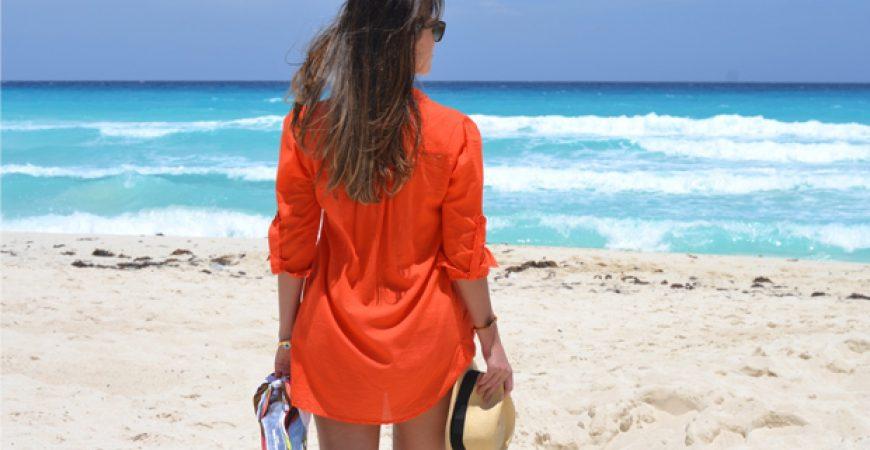 Look do Dia: Chemisier Laranja em Cancun!