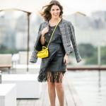Look do Dia: Saia de Couro + Tweed