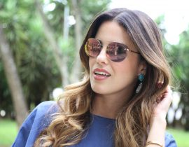 Look do Dia: Blusa Jeans + Saia Floral